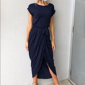 Navy blue knit wrap dress